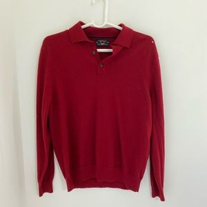 Red Buttoned Down Collared Sweater